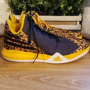 Adidas size 17 bounce blue and yellow shoes